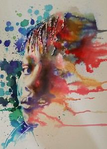 """""""EMPTYING THE DENSITY"""" (watercolor) by Telagio Baptista"""