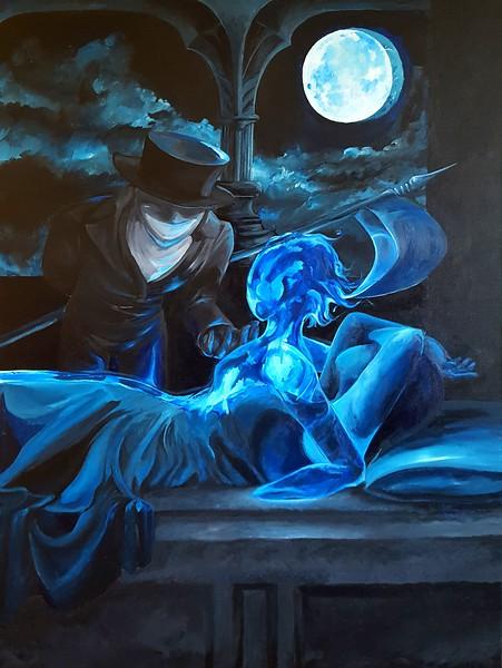 """Blue Nights Death"" (acrylic) by Samantha Schneider"