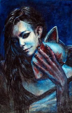 """""""Kitsune"""" (paint on hardboard) by Anastasiia Pelevina"""