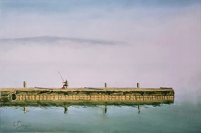 """""""The Fisherman's Solitude"""" (oil on canvas panel) by Louis Degni"""