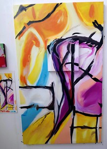 """""""Untitled Double Canvas"""" (oil on canvas) by Megan Priestley"""