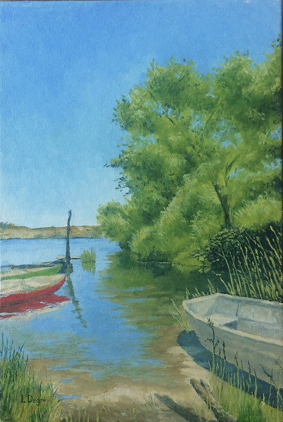"""""""The abandoned boat"""" (oil on canvas panel) by Louis Degni"""