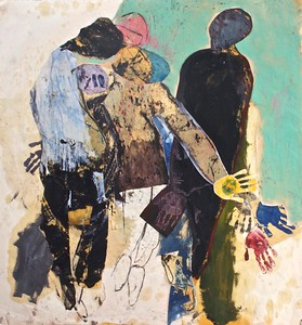 """""""thirst to know"""" (oil on paper, collage) by Hildy Maze"""