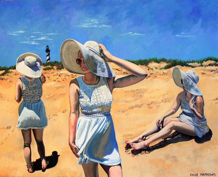 """Three Lindas"" (oil on canvas) by Caleb Mathews"