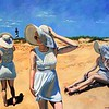 """Three Lindas"" (oil on canvas) by Caleb Mathews"