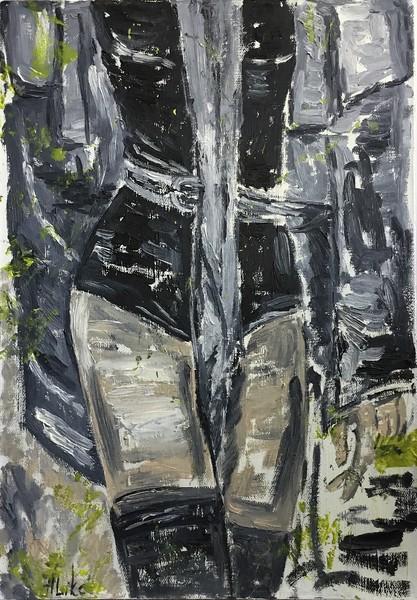 """Girl in the raincoat"" (oil on canvas) by Alika Magomeddibirova"
