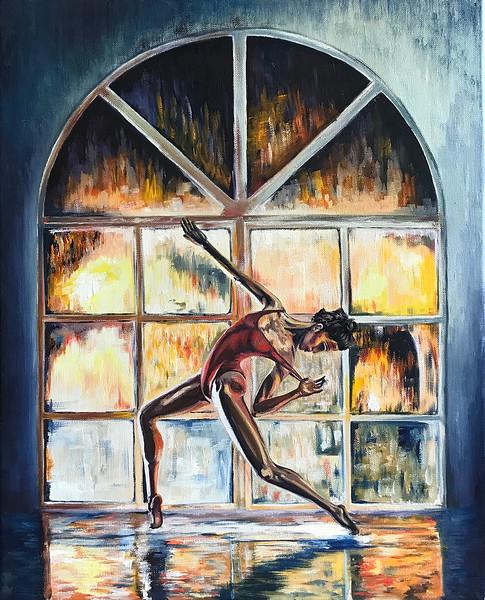 """""""A colorful ballerina"""" (oil) by Daria Popova"""