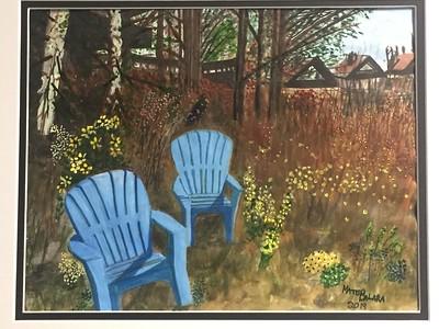 """Adirondacks In Waiting"" (watercolor and pen & ink) by Mateo Balara"