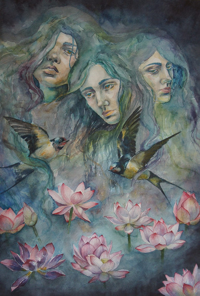 """Pursuit of truth"" (watercolor) by Natalya Ryabchikova"