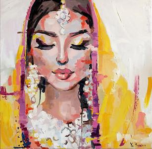 """Indian woman in yellow sari"" (oil on canvas) by Yuliia Meniailova"