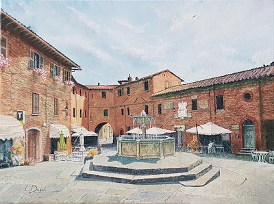 """The Fountain in Painicale"" (oil on canvas) by Louis Degni"