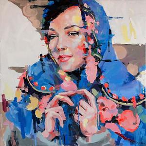"""""""Grandma's Shawl"""" (oil on canvas) by Yuliia Meniailova"""
