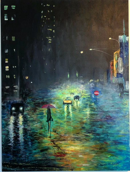 """""""City Living"""" (acrylic on canvas) by Julie Penzvalto"""