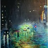 """City Living"" (acrylic on canvas) by Julie Penzvalto"