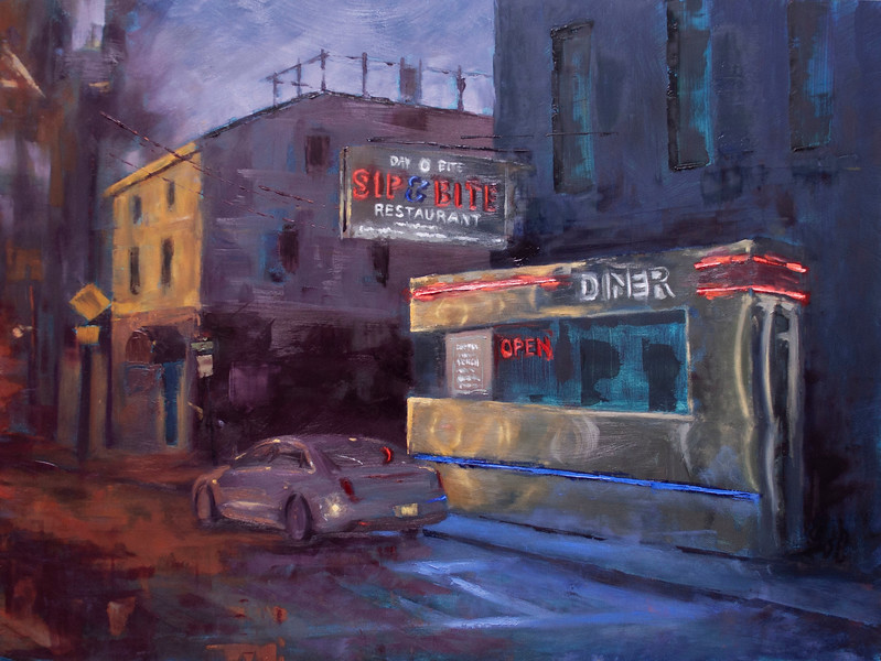 """Sip & Bite Diner"" (oil on panel) by Caroline Brown"