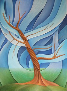 """The Old Tree in the Flow (""The Trees"" Series)"" (oil on canvas) by Yaroslava Liseeva"