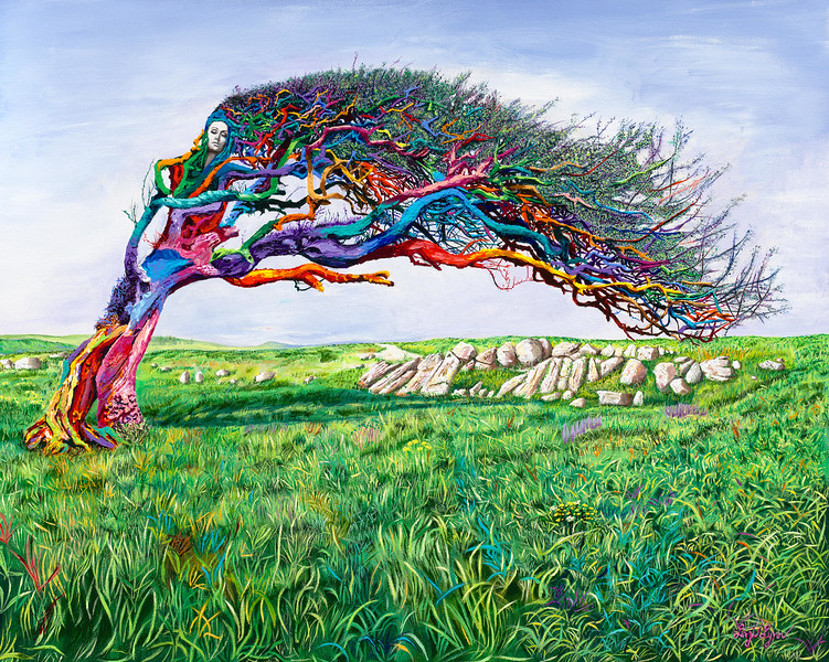 """""""THE LADY OF THE TREE"""" (acrylic on canvas) by Linzi Lynn"""