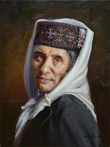"""""""Old Tajik"""" (oil on linen) by Fei Gao"""