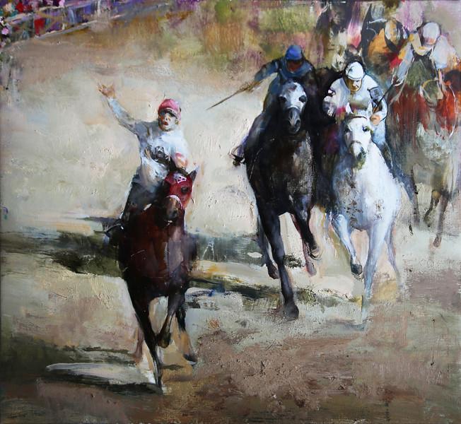 """Seabiscuit"" (oil on canvas) by Elizaveta Pozharskaya"