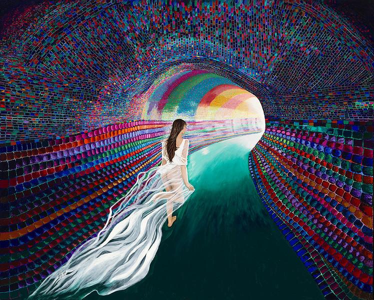 """""""THE ESCAPE"""" (acrylic on canvas) by Linzi Lynn"""