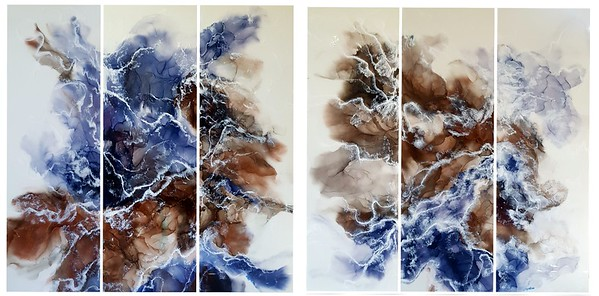 """""""Wave of change"""" (alcohol ink and epoxy resin on wood) by Natalia Byrdina"""