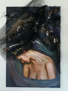 """""""Skin Voice"""" (oil and textiles on canvas) by Natalia Byrdina"""