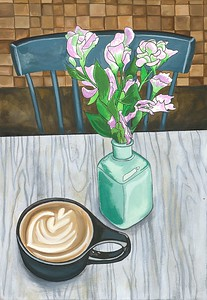 """""""Coffee Shop Table"""" (India ink) by Mary Julia Craft"""