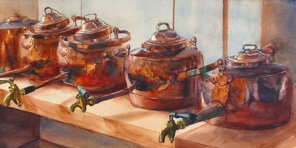 """Copper Kettles"" (watercolor) by Elizabeth Burin"