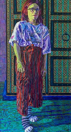 """Tween (Anika)"" (oil and paper on canvas) by Heidi Brueckner"