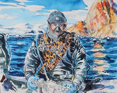 """Dennis in Antarctica"" (watercolor) by Theodore Heublein"
