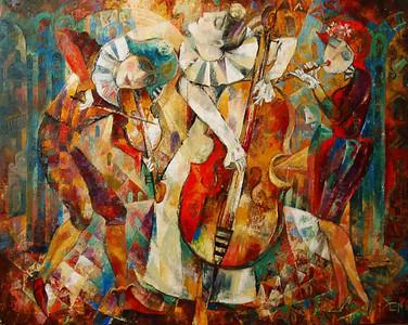 """""""Musicians"""" (oil on canvas) by Zimina Tatiana"""
