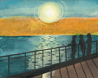 """""""Sunset Over Adriatic"""" (India ink) by Mary Julia Craft"""