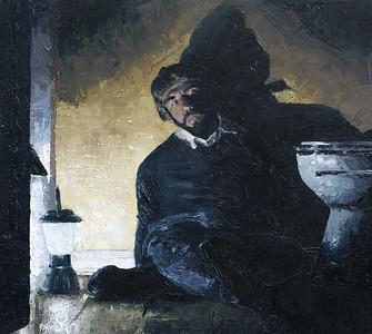 """""""In Bathroom"""" (oil) by Jason Dorler"""