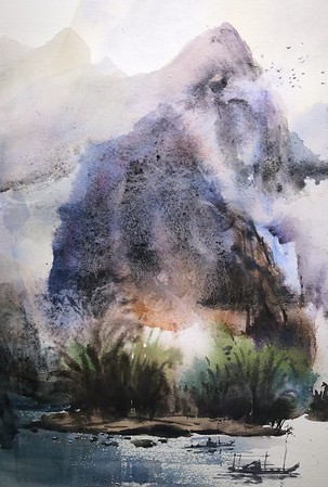 """""""Fishing songs in autumn"""" (watercolor) by RiZhang Huang"""