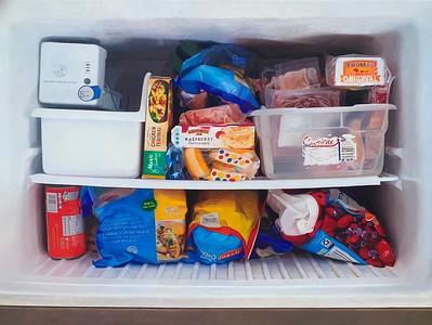 """""""Freezer Box (Vanitas)"""" (oil on linen) by Andrew Leventis"""