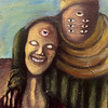 """Portrait of Nephilim Brothers"" (acrylic on canvas board) by Linda Mota"