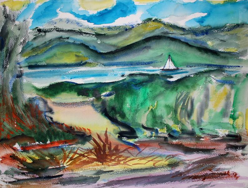 """Hudson River Scenic"" (watercolor) by Richard Fox"