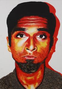 """Sanj"" (acrylic on canvas board) by Suman Manjania"