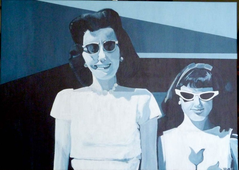 """""""Retro #4 Me and Mom"""" (acrylic and canvas) by Laurie Rosenberg"""