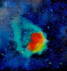 """Glowing Emerald Nebula"" (acrylic on canvas) by Jim Ellis"