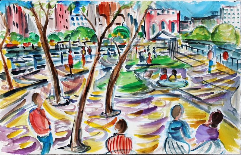 """Hudson River Park"" (watercolor) by Richard Fox"