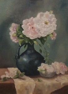 """Garden Roses"" (oil) by Mabe Collins Brown"