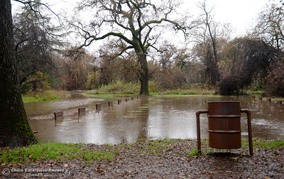 The horseshoe pits are flooded near Sycamore Pool at the One Mile Recreation Area of Bidwell Park during heavy rain in Chico, Calif. Thurs. Dec. 15, 2016. (Bill Husa -- Enterprise-Record)