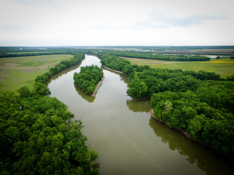 """Billie Goat Island"" at Big Raccoon Creek and Wabash River, looking upriver"