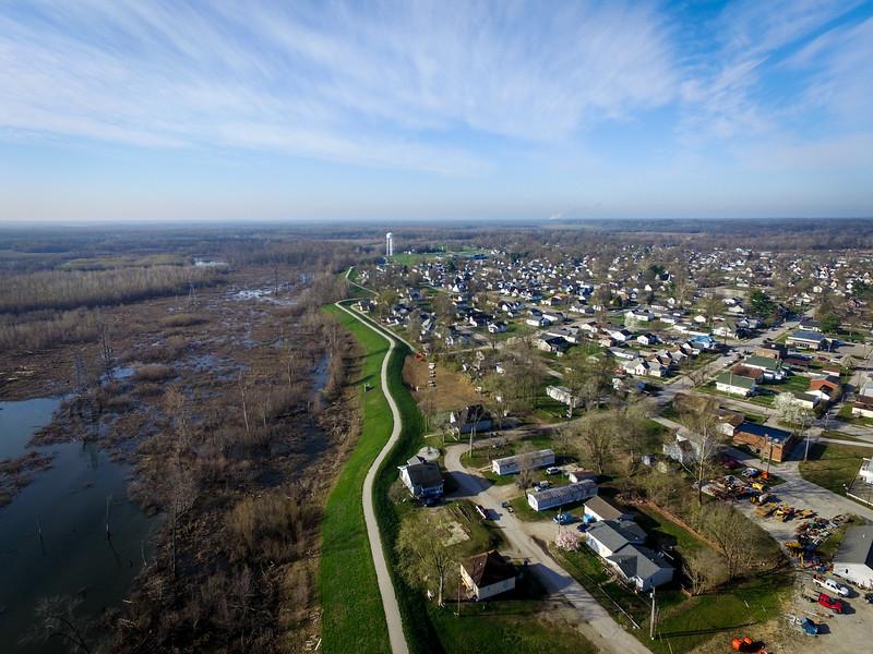 Wabashiki Wetlands on left, West Terre Haute on right
