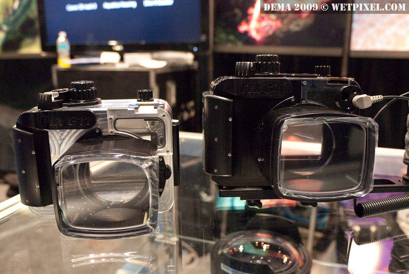 Prototype Fisheye G11 housing (left) with G10 housing to the right