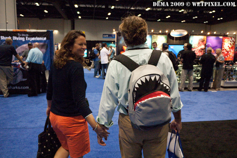 Douglas and Emily. Douglas found a shark backpack in Japan last week.