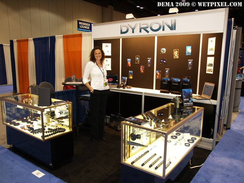 Christel Delmas in Dyron's first ever DEMA booth, #983 in Orlando, FL