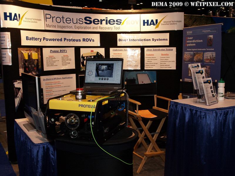 Hydroacoustics was displaying their Proteus ROV, which is fully HD capable and powered by onboard battery canisters.