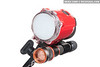 INON S2000 strobe and modeling light attached to strobe holder adapter